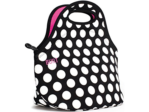 Lifetime brands built ny gourmet getaway black & white spots neoprene lunch tote bag