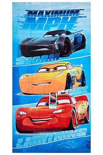 Cars Disney Maximum MPH Strandtuch, Badetuch, Handtuch 70 x 140 cm mit Storm, Cruz und Lightning McQueen aus 100% Baumwolle, für Kinder