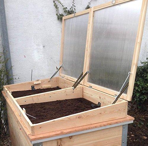Bio-garten Frühbeet Aufsatz aus Lärchenholz für Hochbeet 100 x 200 cm Top Qualität