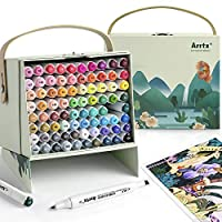 Arrtx ALP 80 Colors Alcohol Markers Set, Dual Tips Permanent Art Sketch Marker Pen Graphic Highlighter Markers with Carry Box for Drawing, Sketching, Painting Coloring Scribbling.