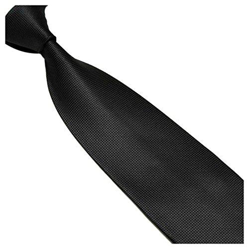 Schwarze Breite gestreifte 10cm Krawatte Seidenmischung - Herrenkrawatte mit Streifen Schwarz - Herrenbinder Herrenschlips z Anzug GASSANI (Streifen-krawatte Breite)