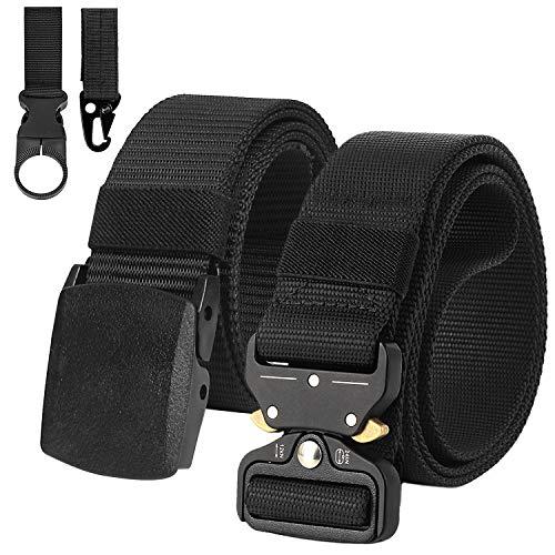 2 Piezas Cinturon Hombre Tactico Militar Correa de Nylon Ajustable Lona Hebilla Plástica y Hebilla Metal