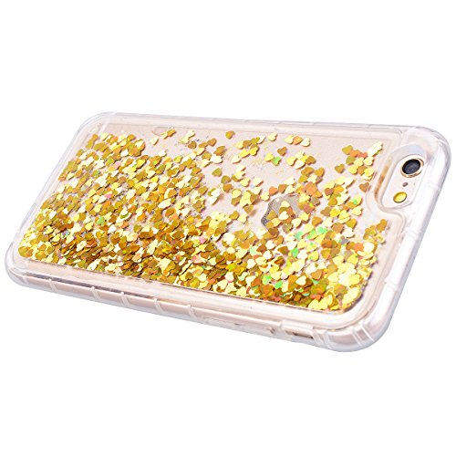 Yokata für iPhone 6 / iPhone 6s Hülle Silikon Weich TPU Transparent Treibsand Liquid Bling Glitter Handyhülle Schutzhülle Durchsichtig Clear Case Backcover Bumper - Love Silber + 1 x Kapazitive Feder Love Gold