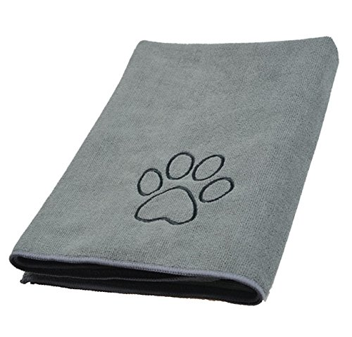 Sinland ultra saugfähiges Mikrofaser Hunde Handtuch 75 x 127 cm Grau - 5