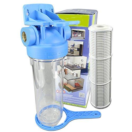 FILTROTECH 10 Zoll Nach- Vorfilter Wasserfilter für Hochdruckreiniger Hauswasserwerk Garten Pumpen Schmutzfilter Sandfilter Teichfilter Durchfluss bis 5.000 l/h Anschluss IG-1 Zoll
