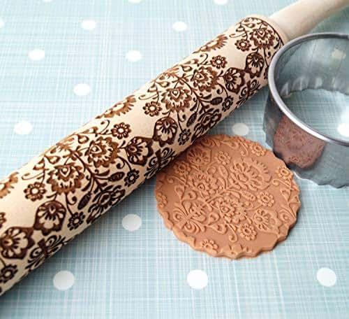 Embossing Rolling Pin Floral Folk Design Wooden Rolling