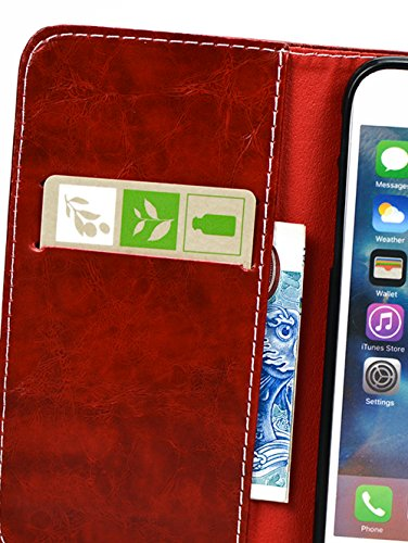 Apple Iphone 6S Plus hülle, Handyhülle Apple Iphone 6S Plus Silikon Case, Nnopbeclik® PU Leder 3D Peace Dove Design Cover Hochwertige Qualität Tasche Und weich Schwarz TPU Stoßkasten Anti-Scratch Inne Red