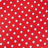 0,5m Stoff Punkte groß in rot/ weiß Meterware 100%