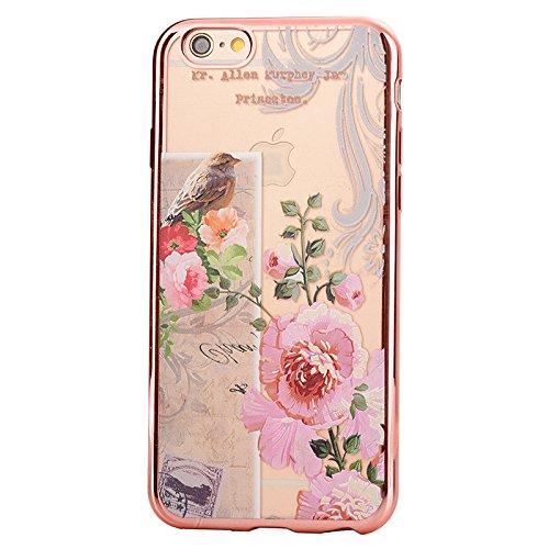 Apple iPhone 6/6S 4.7 Hülle, Voguecase Schutzhülle / Case / Cover / Hülle / TPU Gel Skin (Lila Rosen) + Gratis Universal Eingabestift Blumen- und Vogel 02
