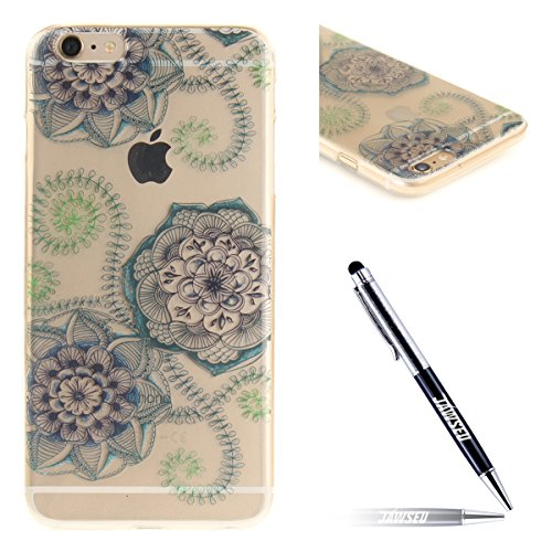 iPhone 6S Plus Handyhülle,iPhone 6 Plus Transparent Hülle,JAWSEU Schön Pink Blumen Muster Premium Weich Backcover Schutzhülle Durchsichtig Flexibel Klar Transparent Gel Silikon Tpu Hülle Superdünn Sto Blau Blumen