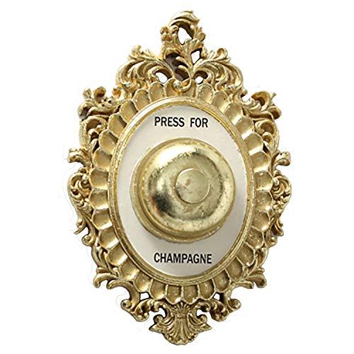 Wandornament Champagner Schild Wandklingel Hotel Concierge Glocke Press for Champagne H23cm Gold