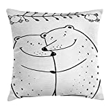Valentine Throw Pillow Cushion Cover, Teddy Bears Lovers Dating Happy Hugging Romantic Cartoon Animals Birds Branch, Dec