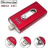 Tipmant Unidades Flash USB 3.0 3in1 OTG Teléfono Móvil Tarjeta de Memoria Lightning iOS Para iPad de Apple iPhone 5 6 6S 7 Plus, 128GB Pen Drive Almacenamiento Externo - Red (128GB)