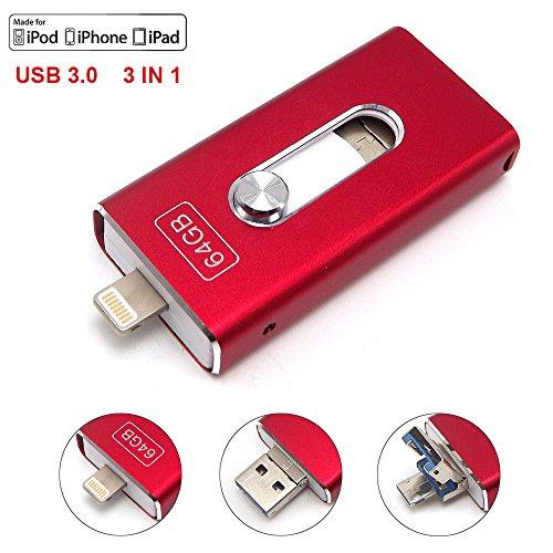Preisvergleich Produktbild Tipmant USB 3.0 Flash-Laufwerk 3 in 1 OTG Handy Speicherstick Lightning iOS Für Apple iPad iPhone 5 6 6S 7 Plus, 16GB USB Stick Externer Speicher - Rot