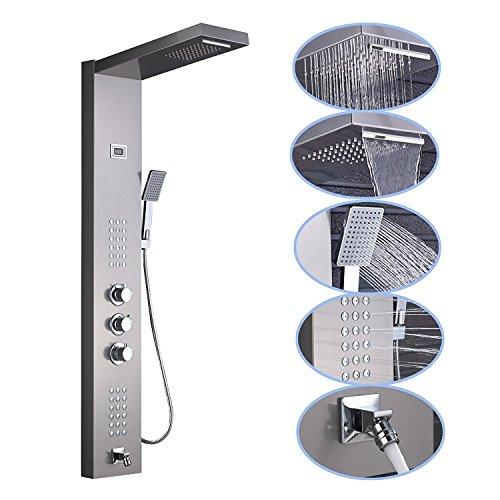 Senlesen - doccia con miscelatore termostatico a getto a cascata, in acciaio inossidabile, con pannello per doccia idromassaggio e doccetta manuale