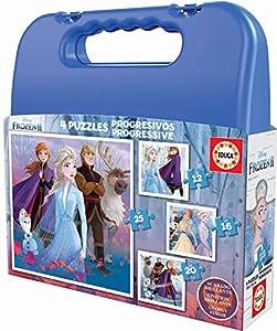 Educa Borrás- Frozen 2 Maleta Puzzles progresivos 25-20-16-12 Piezas, Color Variado (18114)