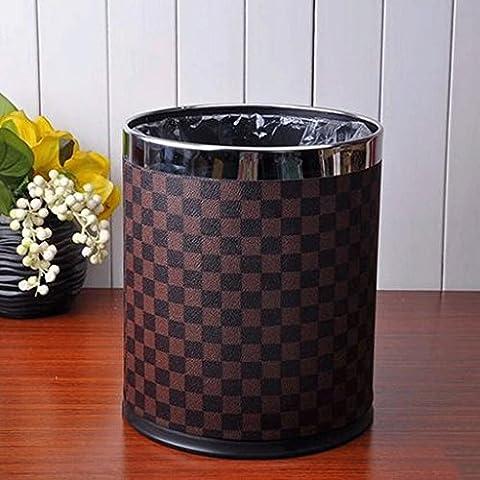 Soggiorno cucina cestino Trash cuoio dell'acciaio inossidabile Cestino 22 * 27 centimetri 10l bagno Trash