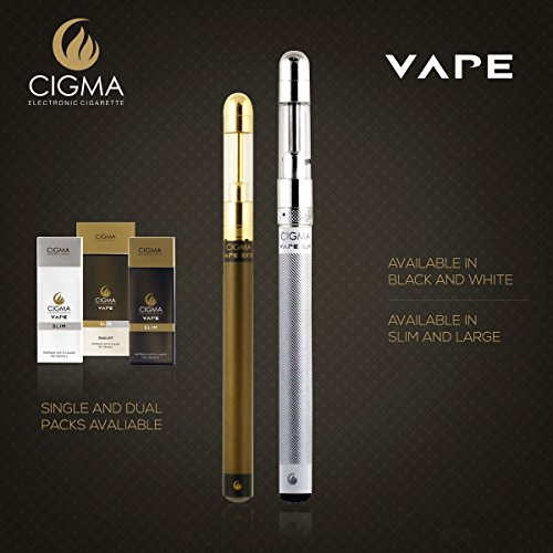 Cigma Vape | Worlds Slimmest Smallest Refillable Rechargeable E Cigarette E Cigarette Starter Kit | E Shisha | Rechargeable battery | Refillable Clearomizer | Vaporizer | White | Money Back Guarantee