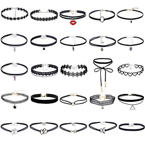 MingJun 25 PCS Womens Choker Halskette Set Schwarz Samt Spitze Tattoo Choker Set Vintage Stretch Halskette für Frauen Mädchen (Tattoo-lady Die)