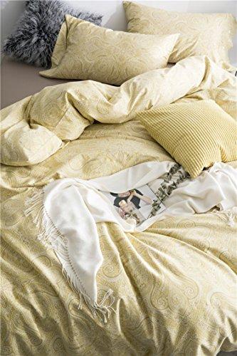 Eikei Home Luxurious Bohemian Bettbezug Set 350Fadenzahl Baumwollsatin Vintage Boho Stil Paisley Print in Slate Blue und Tan Marokkanisch Queen Citron - Ralph Lauren-cover-set