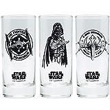 Star Wars - Trinkgläser 3er Set 300 ml - Episode 4-6 - Darth Vader - X-Wing - Tie Fighter