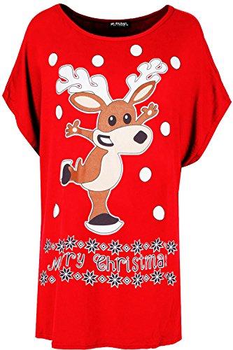 Be Jealous Womens Ladies Baggy Oversize Glitter Nose Reindeer Batwing Xmas Christmas T Shirt UK Plus Size 8-22