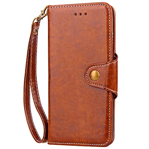 Iphone 6 Hülle,E-Lush Premium PU Leder Multifunktions Magnetverschluss Geldbörse Handytasche Etui Case Cover Schutzhülle für Iphone 6 6S Klapphülle 360 Full Body Protection Flip Case Wallet Cover Weic braun