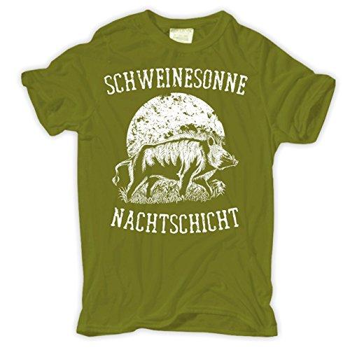 Männer und Herren T-Shirt Schweinesonne (mit Rückendruck) Moosgrün