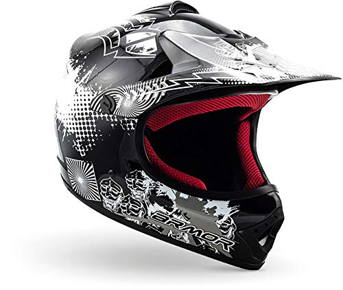 "Armor · AKC-49 ""Black\"" (Schwarz) · Kinder-Cross Helm · Off-Road Enduro Motorrad Sport Moto-Cross Kinder · DOT certified · Click-n-SecureTM Clip · Tragetasche · M (55-56cm)"