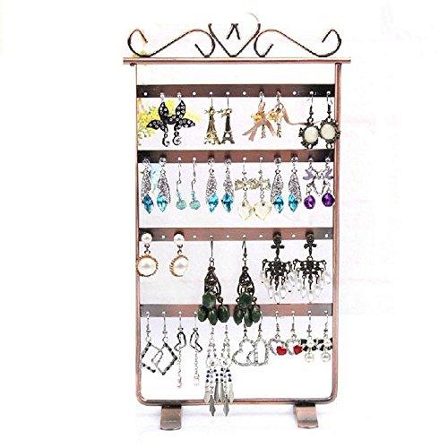Culater® 48 trous utiles Boucles d'oreilles Bijoux Présentoir Métal Support à la vitrine Brun