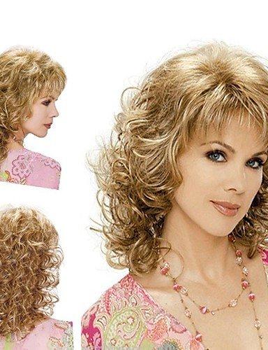 Perücken europäisches Haar GY Frauen modisch blond braun Mischfarbe mittlerer Länge geschweiften Perücken mit Seite bang (Seite Pony Mit Pferdeschwanz)