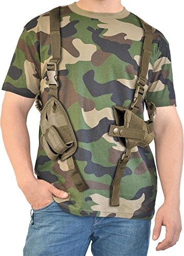 normani Fasching Kostüm Schatzsucher T-Shirt mit Schulterholster - Karneval Verkleidung Farbe Woodland/Coyote Größe - Kostüm Soldat Rose