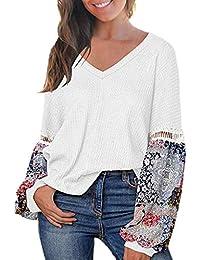 Yvelands Para Mujer Impreso Manga Larga Chunky Suéter Pullover con Cuello En V Flojo Camisetas Tops