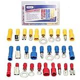 KalorK Kit di terminali per fili elettrici coibentati assortiti, 480 pz, 12 misure, terminali ad anello, lamella, forcella e spinotto, a crimpare, con custodia