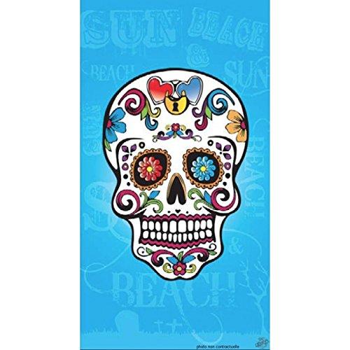 PROMOFLASH83 Serviette de Plage Tête de Mort Turquoise 95x175 cm