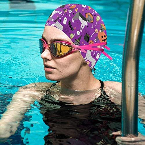 Swim Cap,Pitbull Halloween Costume Dog Vampire Ghost Mummy Purple Thicker Design Waterproof Silicone Swimming Cap for Adult Woman and Men