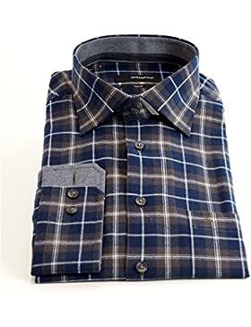 Seidensticker Herren Langarm Hemd Splendesto Regular Fit Flannel braun / blau / weiß kariert mit Patch 388970.28