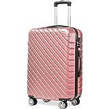 Flieks Hartschale Trolley Koffer Reisekoffer Zwillingsrollen Reisekoffer mit Zahlenschloss Handgepäck mit 4 Doppel-Rollen, XL-L-M (Pink, Handgepäck/M)