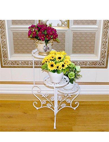 Style européen fer multi étages salon cadre fleur cadre fleur extérieur balcon fleur étagères (couleur : Blanc)