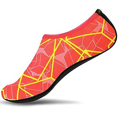 JACKSHIBO Erwachsene Barfuß Schuhe Weich Wassersport Schuhe Damen Schwimmschuhe Surfschuhe Badeschuhe Orange/c
