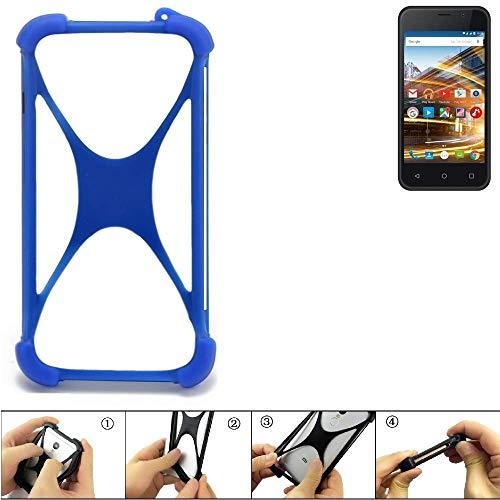 K-S-Trade® Handyhülle Für Archos 40 Neon Silikon Schutz Hülle Cover Case Bumper Silikoncase TPU Softcase Schutzhülle Smartphone Stoßschutz, Blau (1x),