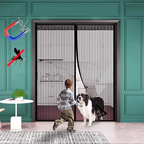 WISKEO Fliegengitter Magnet Balkontür Insektenschutz, Magnetvorhang Klebemontage Ohne Bohren, Moskitonetz Magnetischer, Verschiedene Größen, Wohnzimmer Balkontür - Schwarz 110x200CM