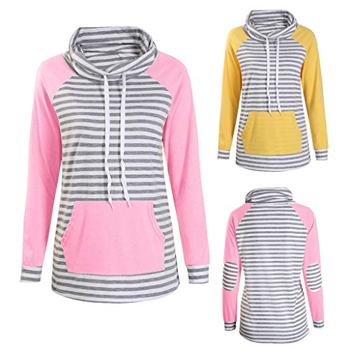 WWricotta Women Fashion Long Sleeve Stripe Block Color Pocket Bandage Sweatshirt