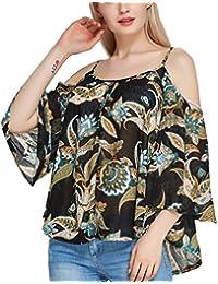 EOZY Blouse Femme Shirt Chiffon Imprimé Manches Courtes Épaule Nue