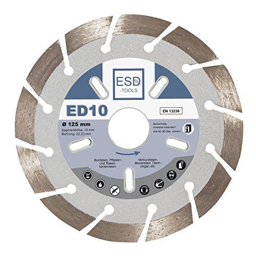 Diamant-Trennscheibe ED10 Ø 125 / 22,23 10mm-Segment Trennscheibe Bordstein, Verbundsteine, Pflaster und Rasenkantensteine, Mauersteine, Dachziegel, Altbeton