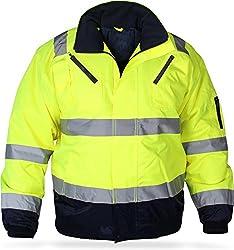 normani Outdoor- & Arbeitsbekleidung Piloten-Warnschutzjacke [S-4XL] Farbe Neongelb/Marine Größe XXXXL