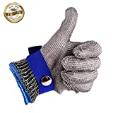 Wham Moon Schnittschutzhandschuhe, Schnittfeste Lebensmittelecht Handschuhe,100% Edelstahl-Metal Mesh Metzgerhandschuh mit Weiße Stoffhandschuhe, 10.5~11cm Breite