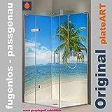 ORIGINAL plateART Eck-Duschrückwand, bis 90 x 200 cm links/rechts und 120 x 200 cm links/rechts OHNE FUGEN, Fliesenersatz, Karibik Strand Palme Motiv