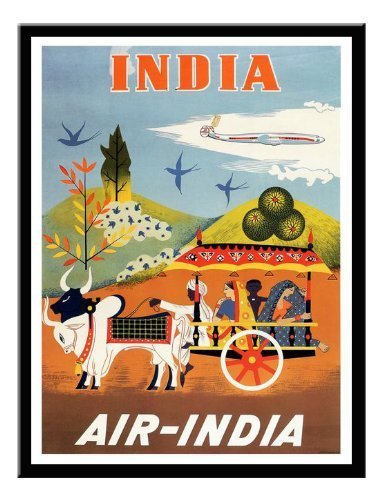 air-india-travel-stampa-magnetico-lavagnetta-nero-con-cornice-41-x-31-cms-circa-406-x-305-cm