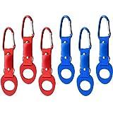 COM-FOUR® 6x Flaschenhalter aus Silikon in verschiedenen Farben mit Karabiner und Schlüsselring (06 Stück - blau/rot)